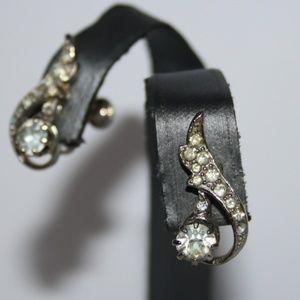Vintage silver and rhinestone earrings